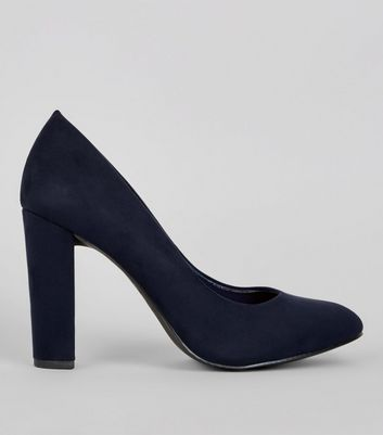 Wide Fit Navy Suedette Block Court Heels