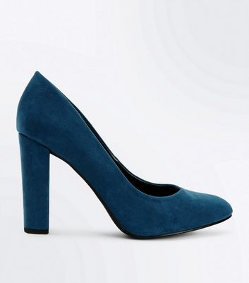 Wide Fit Teal Suedette Block Heel Courts