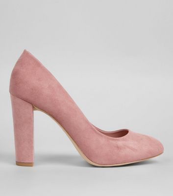 Wide Fit Pink Suedette Block Heels