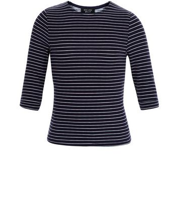 Girls Blue Stripe 3/4 Sleeve Top