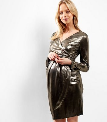 Maternity Gold Metallic Wrap Front Dress