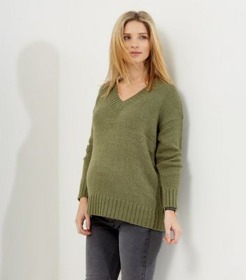 Maternity Khaki V Neck Long Sleeve Jumper