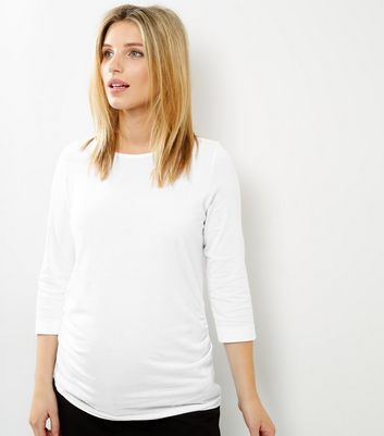 Maternity White 3/4 Sleeve Top