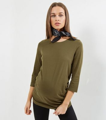 Maternity Olive Green Rolled 3/4 Sleeve T-Shirt