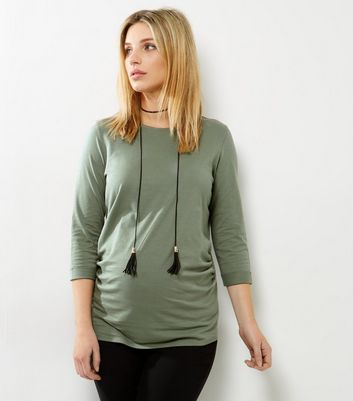 Maternity Khaki Rolled 3/4 Sleeve T-Shirt