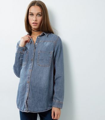 Maternity Blue Denim Double Pocket Shirt