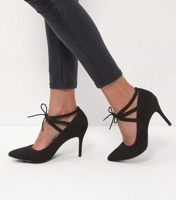 Black Comfort Lace Up Pointed Heels