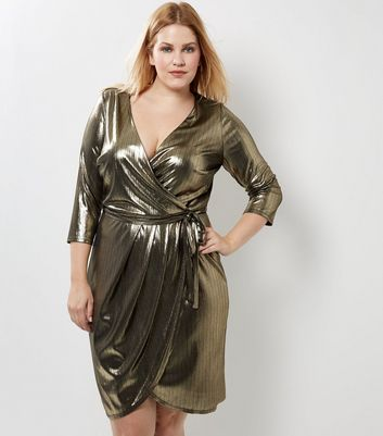 Curves Gold Metallic Wrap Front Dress