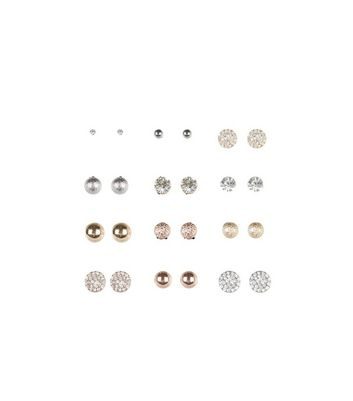 12 Pack Gold Stud Earrings