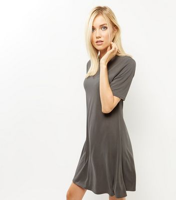 Khaki Funnel Neck Swing Dress
