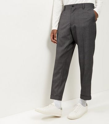 Light Grey Check Cropped Suit Trousers