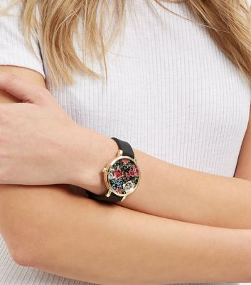 Black Floral Print Face Silicone Strap Watch