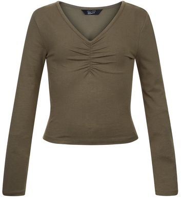 Teens Khaki Ruched Front V Neck Top
