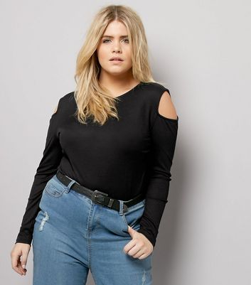 Curves – Cold-Shoulder-Top aus Rippstrick in Schwarz