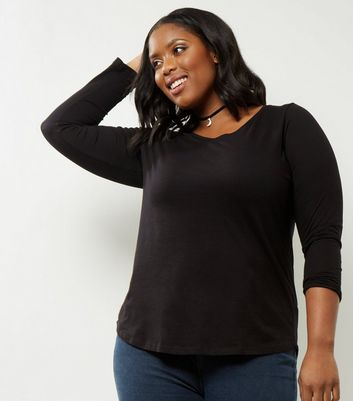 Curves Black V Neck Long Sleeve Top