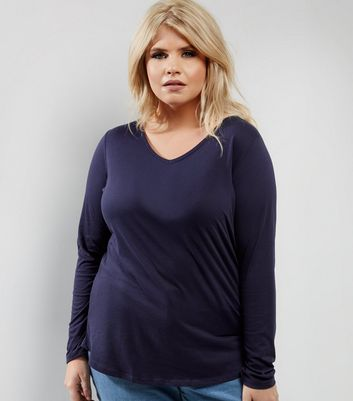 Curves Navy V Neck Long Sleeve Top