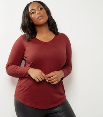 Curves Red V Neck Long Sleeve Top