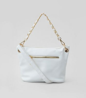White Chain Strap Cross Body Bag