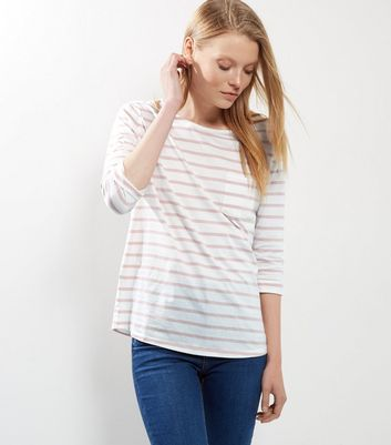 Pink Stripe 3/4 Sleeve Top
