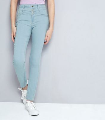 Teens Pale Blue Bleached High Waist Skinny Jeans