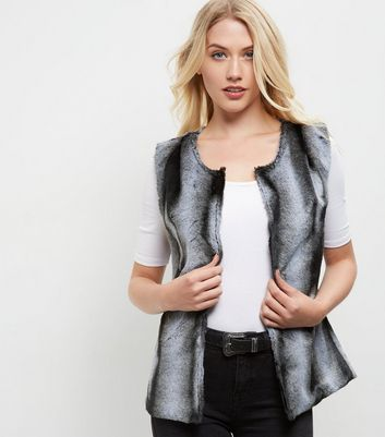 Mela Grey Faux Fur Gilet