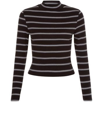 Teens Black Stripe Ribbed Funnel Neck Top