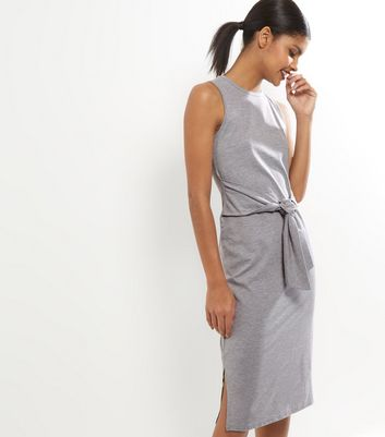 Grey Tie Waist Sleeveless Midi Dress