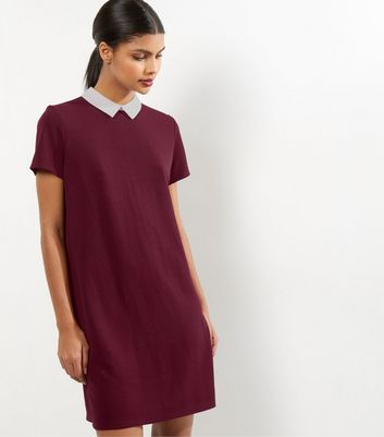 Robe tunique bordeaux à col contrastant