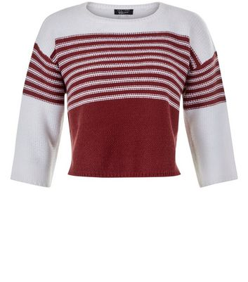 Teens Red Colour Block Stripe Half Sleeve Jumper