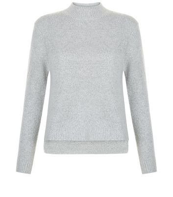 Teens Grey Dip Hem Funnel Neck Jumper