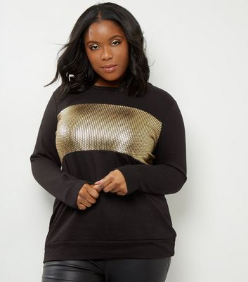 Curves Black Metallic Sequin Print Sweater
