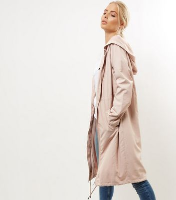 Shell Pink Drawstring Waist Longline Duster Coat