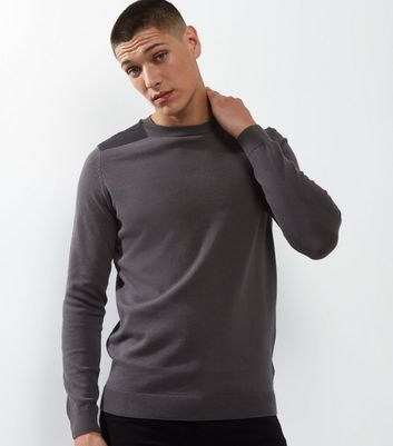Dark Grey Shoulder Patch Crew Neck Jumper