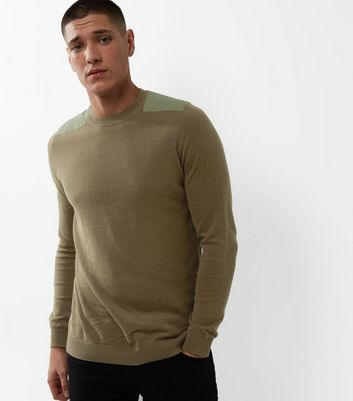 Light Brown Shoulder Patch Crew Neck Jumper