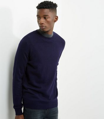Navy Textured Panel Crew Neck Jumper