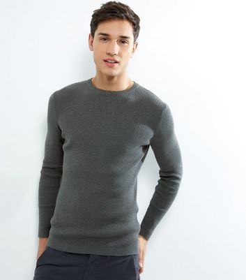 Green Cotton Ribbed Jumper