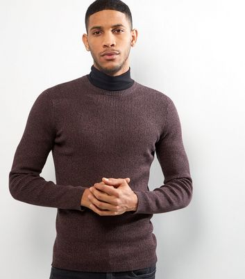 Dark Purple Cotton Ribbed Jumper