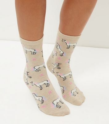 Cream Unicorn Print Socks