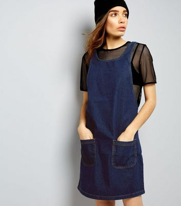 Blue Denim Double Pocket Pinafore Dress