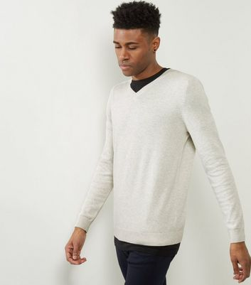 Cream Cotton V Neck Jumper