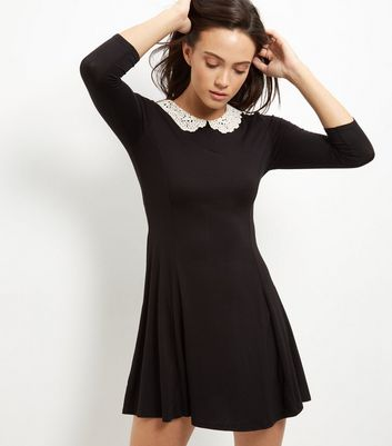 Black Crochet Collar Skater Dress