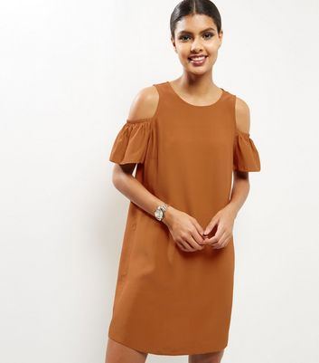 Brown Frill Trim Cold Soulder Tunic Dress