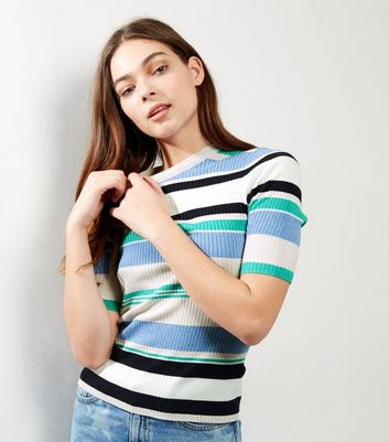 Blue Ribbed Stripe 1/2 Sleeve T-Shirt