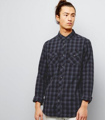 Black Cotton Check Long Sleeve Shirt
