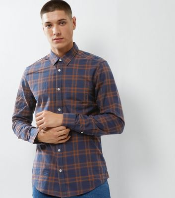 Navy Check Single Pocket Long Sleeve Shirt