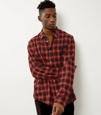 Red Brushed Check Single Pocket Shirt