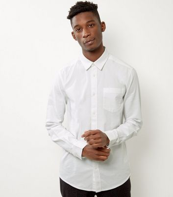 White Brushed Cotton Long Sleeve Shirt
