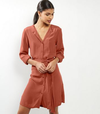 Brown Long Sleeve Belted Shirt Dress