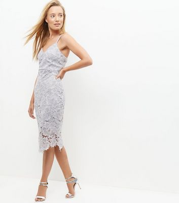 AX Paris Grey Crochet Lace Midi Dress