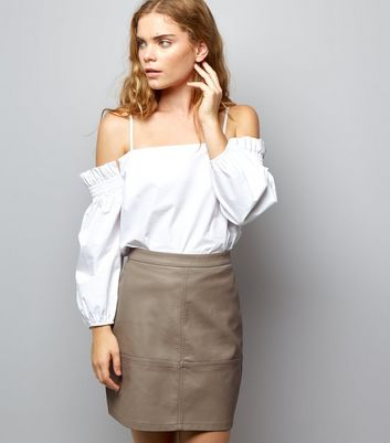 Mink Leather-Look Mini Skirt